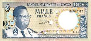 CONGO 1000 Francs Stars Cancelled 1964 P.008a Condition : AU/UNC