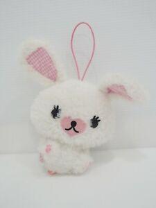 "Mofy Moffi White Rabbit SEGA Strap Mascot Plush 6"" Toy Doll Japan"