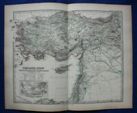 Original antique map MIDDLE EAST, TURKEY, CYPRUS, SYRIA, ARMENIA, Stieler, 1889