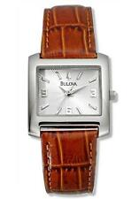 NEW in Box Womens Bulova Quartz Watches Silver Watch Brown Leather Band Strap