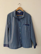 Victorias Secret Blue Cotton Geometric Print PJ Womens Pajama Top Extra Large XL