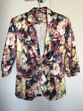 Women's Satin Padded Floral Blazer Jacket - Size 8 - $20