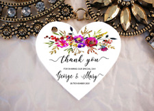 10 White Gift Tags Wedding Favour Bomboniere Personalised heart Thank you V4