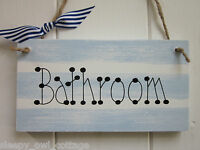 BATHROOM SIGN PLAQUE SEASIDE NAUTICAL GIFT Chic Shabby Vintage