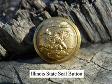 Old Rare Vintage Antique War Relic Illinois State Seal Coat Button