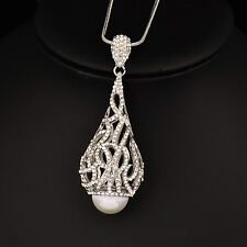Elegant Crystal Cone Shape Pearl Pendant Long Necklace White Gold Snake Chain