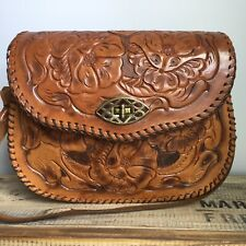 Vintage Hand Tooled Leather Bag Special Clasp