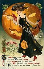 Fabric Block Halloween Vintage Postcard Image Jack O Lantern Pretty Witch