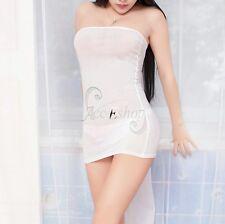 Women's Micro Mini Sheer Bodycon Dress Bandeau Strapless Tight Erotic Clubwear