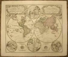 MAPPEMONDE GLOBE TERRESTRE Carte ancienne originale par HOMANN 1746 antique map