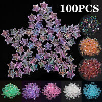 100PCS Crystal Glass Acrylic Star Loose Spacer Bead Charm Jewelry Making DIY
