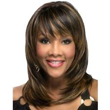 Medium Long Section Women's Brown Wigs Real Hair Full Wig Layered Human Hair Wig