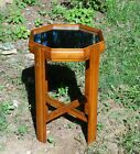Vintage Art Deco Mirror Top Octagon Circular Walnut X Base Small Side Table