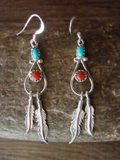 Navajo Sterling Silver Turquoise Coral Feather Dangle Earrings! Spencer