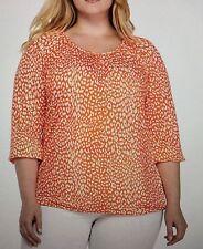 Michael Kors Cheetah Peasant Top Orange white  3/4 Sleeves women's Plus Sz 2X