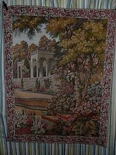 """Italian Temple in Lake Como Formal Gardens Tapestry Wall Hanging 33.25"""" x 42.5 """""""