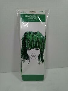 Green Tinsel Wig for Birthday, Halloween St. Patrick's Day, Tailgate NFL costume