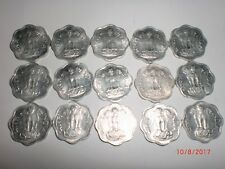 "INDIA COINS - 15   ""2  PAISE""  COINS –ODD-SHAPE-8 CORNERED -1971-UNC.-RARE # 11V"