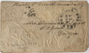 """Soldier's """"Due 10"""" CONFEDERATE STATES COVER, Chattanooga, Ten. to Oxford, Ga."""