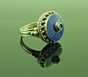 Antique Sterling Silver Blue Lapis Lazuli Ring Antique Lapis Silver Tribal Ring