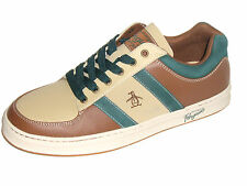 Original Penguin Men's Shoes Jingle Leather Sneakers Pine Taos Taupe Toffee Sz 9