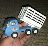 """Vintage Tonka Mini Stake Bed Dump Truck Blue and White 1970's 5.5"""" Long."""