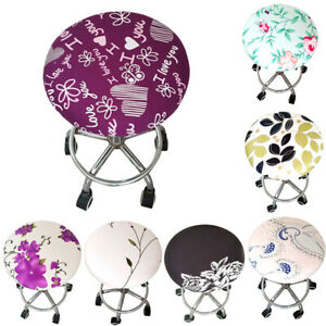 Bar Stool Floral Printed Round Seat Cover Spandex Chair Cover Slipcover Decor