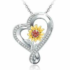Mothers Day Gift S925 Sterling Silver Pretty Sunflower Heart Pendant Necklace