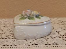 Vintage White Ceramic Heart Trinket Box with Lid of Colored Roses