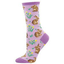 New Women's Crew Socks �Bunnies �Rabbits And Flowers Bunny Animal Mammal