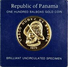 1975 Panama 100 Balboa UNC Gold Coin, Vasco Nunez de Balboa, Cardboard Holderï¾