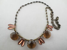 Faceted Topaz/Bronze Glass Antiqued Goldtone Bead Choker Necklace