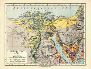 1878 Victorien Carte ~ Egypte Et Sinaï (Physique) Heptanomis Etc