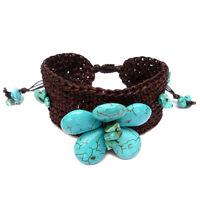 Bracelet Fleur de pierre bleu imit. turquoise crochet coton ciré marron Réglable