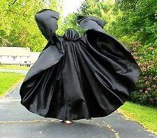 SALE! Custom Black Satin, Full Circle, Hooded Cloak!! HALLOWEEN! FREE SHIP!