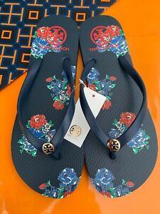 Tory Burch PVC Thin Flip Flop Flops Thong Sandals Midnight Tea Rose MANY SIZES