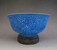 Beautiful Chinese Antique Blue Glaze Carved Porcelain Bowl with 3 Dragon