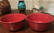 """LOT Set 2 Rachel Ray Double Ridge RED 6"""" Stoneware Soup Cereal Bowls BRAND NEW=D"""