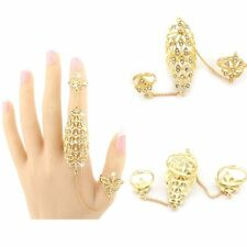 Crystal Double Gold Chain Adjustable Rhinestone Full Finger Ring Sets Hollow