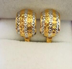 18k Solid Yellow Gold Hugger French Clip Cute Diamond Earrings 4.05Grams