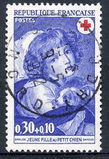 STAMP / TIMBRE FRANCE OBLITERE N° 1700  CROIX ROUGE JEUNE FILLE AU PETIT CHIEN