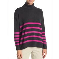 Vince Camuto Striped Turtleneck Sweater Gray Pink Women Petite Small PS NEW $89