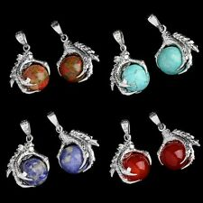 New 1 Pcs Gemstone Silver Plated Dragon Ball Bead Focal Pendant For Necklace M33