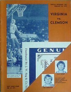 1974 CLEMSON at VIRGINIA BASKETBALL PROGRAM (BILLY LANGLOH CVR, WALKER, BONNER +