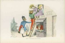 GRANDVILLE antique Lithograph print Metamorphoses Dressed chicken monkey fox dog