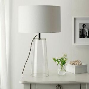 The White Company Bowery Glass Table Lamp Clear Glass Linen Shade Lighting~