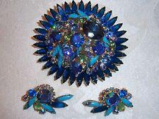VTG JULIANA BLUE GIRVE ART GLASS RHINESTONE HUGE SUNBURST BROOCH EARRING SET