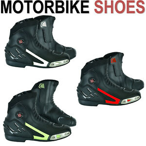 Men Riding Racing Boots Motorbike Motorcycle Waterproof Shoes Leather CE Armour