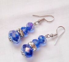 Handmade Crystal Earrings Silver Plated Champagne Clear Crystals Stoppers