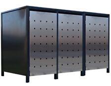 3x Premium 240 Liter Tailor Mülltonnenboxen Stanzung 1 Anthrazit Tür-Edelstahl